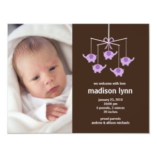 Purple Elephants Baby Girl Birth Annoucement Personalized Invite