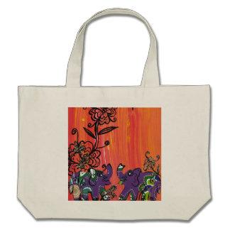 Purple Elephants Grocery Bag