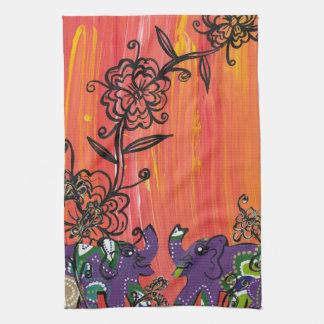 Purple Elephants Kitchen Towel