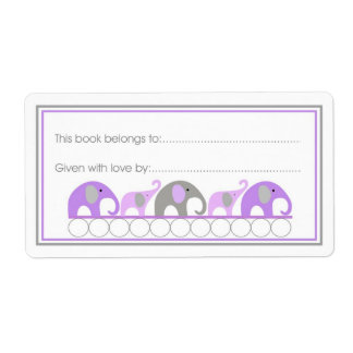 Purple Elephants Parade Bookplate Fill-in style Personalized Shipping Labels