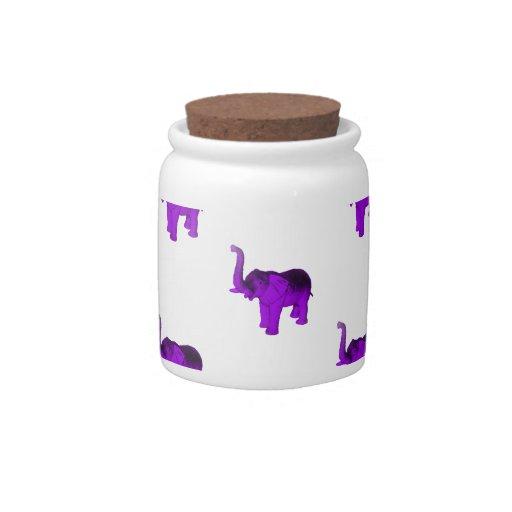 Purple Elephants Pattern Candy Jar