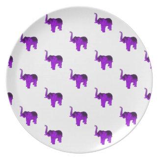 Purple Elephants Pattern Melamine Plate