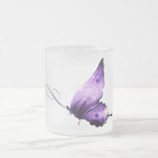 Purple Embellished Butterfly Frosted Glass Coffee Mug