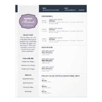 purple emblem resume letterhead