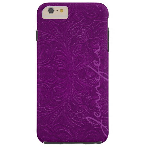 Purple Embossed Floral Design Suede Leather Look 2 Tough iPhone 6 Plus Case