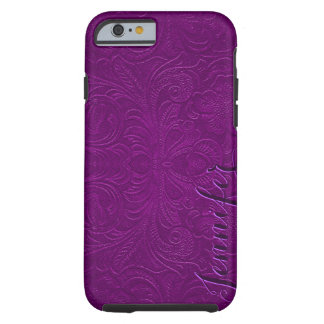 Purple Embossed Floral Design Suede Leather Look 2 Tough iPhone 6 Case