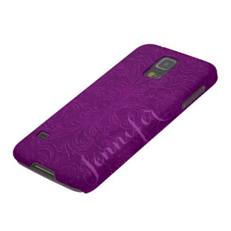 Purple Embossed Floral Design Suede Leather Look 2 Case For Galaxy S5
