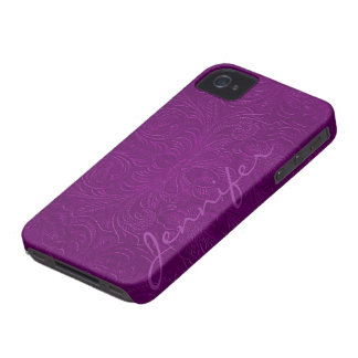 Purple Embossed Floral Design Suede Leather Look 2 Case-Mate iPhone 4 Case