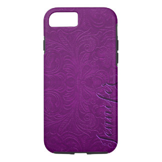 Purple Embossed Floral Design Suede Leather Look 2 iPhone 8/7 Case