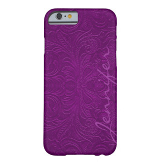 Purple Embossed Floral Design Suede Leather Look 2 iPhone 6 Case