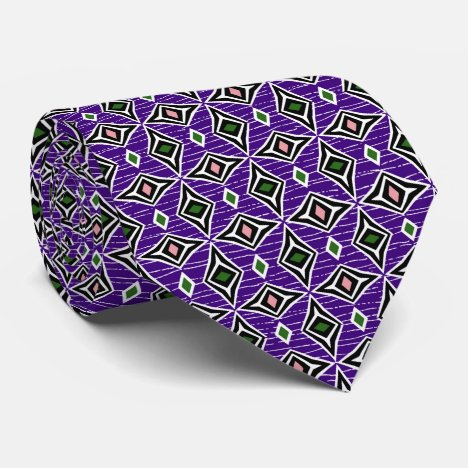 Purple emerald green modern diamond patterns tie