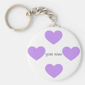 """Purple Emoji Hearts and '' Your Name Here """" Keychain"""