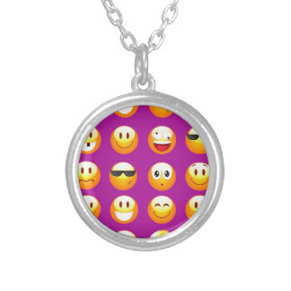purple emojis silver plated necklace