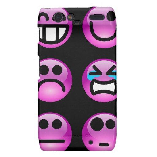 Purple Emoticons Droid RAZR Cover