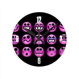 Purple Emoticons Round Clock