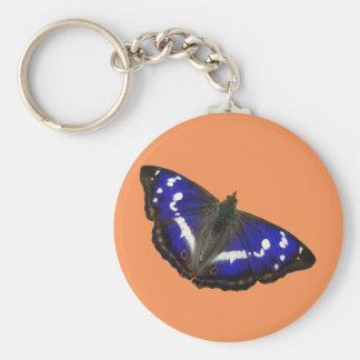 Purple Emperor Butterfly Basic Round Button Keychain
