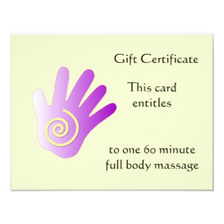 Purple Energy Hand Gift Certificate 4.25x5.5 Paper Invitation Card