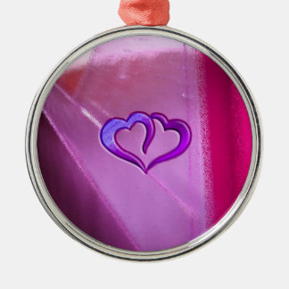 Purple Engraved Hearts Round Metal Christmas Ornament