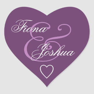 Purple Envelope Seal Wedding Heart V13 Heart Sticker