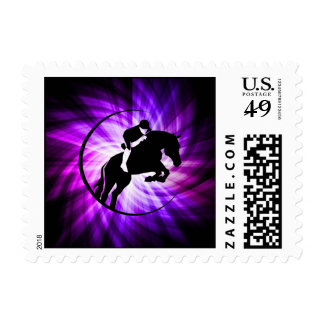 Purple Equestrian Postage Stamp