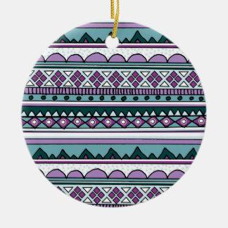Purple ethnic pattern ceramic ornament