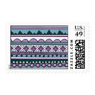 Purple ethnic pattern postage stamp