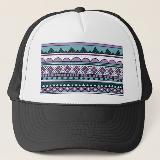 Purple ethnic pattern trucker hat