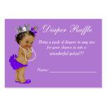 Purple Ethnic Princess Baby Shower Diaper Raffle Large Business Card