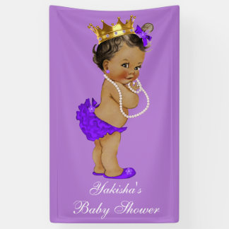 Purple Ethnic Princess Baby Shower Gold Crown Banner