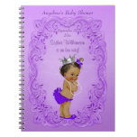 Purple Ethnic Princess Baby Shower Guest Book Spiral Notebook