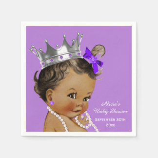Purple Ethnic Princess Baby Shower Personalized Napkin