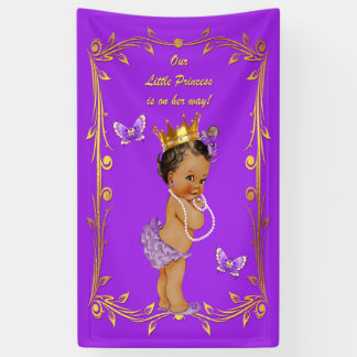 Purple Ethnic Princess Butterflies Gold Frame Banner