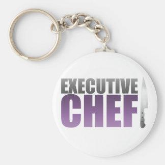 Purple Executive Chef Basic Round Button Keychain