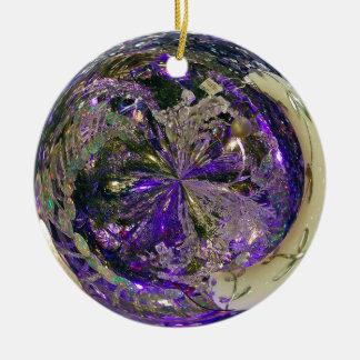 Purple Explosion Ceramic Ornament