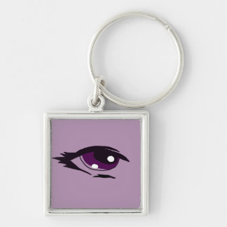 Purple eye design matching jewelry set Silver-Colored square keychain