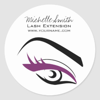 Purple Eye long eyelashes Lash extension  icon Classic Round Sticker