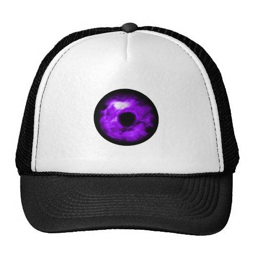 Purple Eye looking graphic, cloudy inside Trucker Hat
