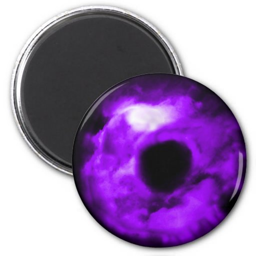 Purple Eye looking graphic, cloudy inside Magnet