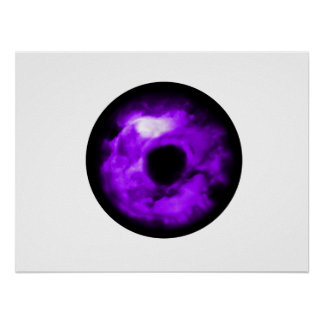 Purple Eye looking graphic, cloudy inside Poster