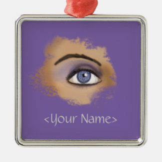Purple Eye Makeup Square Metal Christmas Ornament