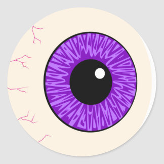 purple eyeball classic round sticker