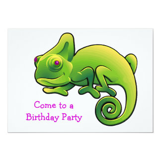 Purple Eyed Lime Green Chameleon Birthday Party Card