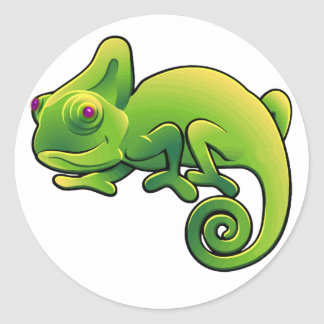 Purple Eyed Lime Green Chameleon Round Stickers