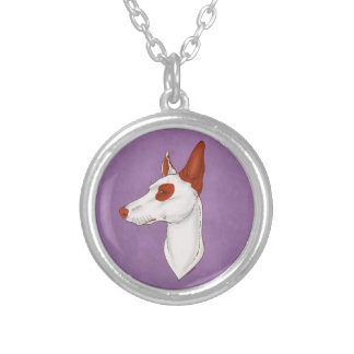 Purple Eyepatch Smooth Ibizan Hound Necklace