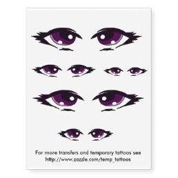 Purple eyes design transfers and temporary tattoos