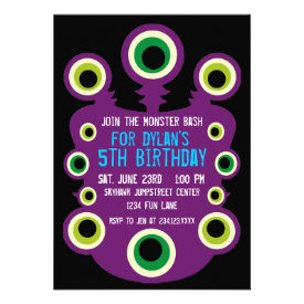 Purple Eyes Monster Birthday Party Invitations