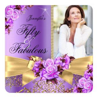 Purple Fabulous 50 Photo Gold Rose Bow Birthday Card