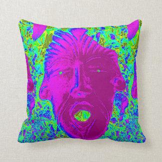 purple face on green pillow