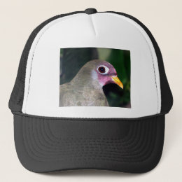 purple faced bird trucker hat