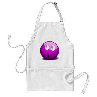 Purple faced emoticon aprons